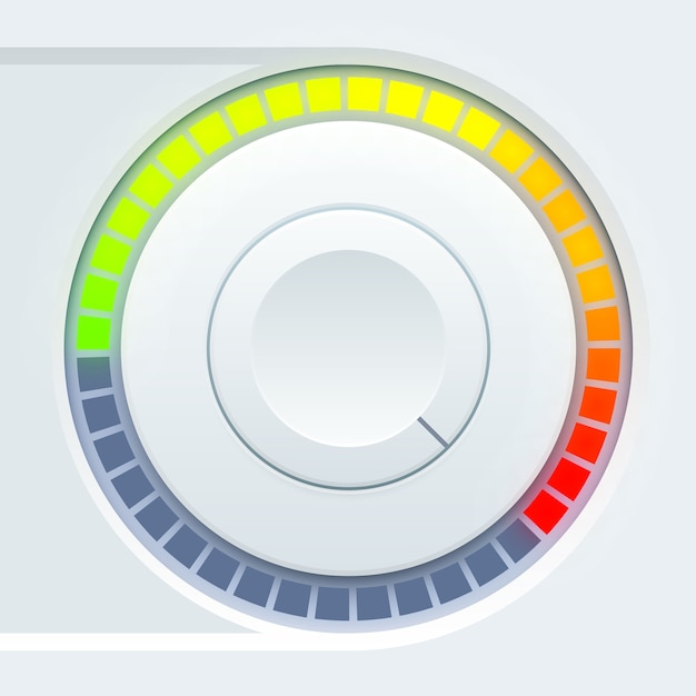 Media-gebruikersinterfaceontwerp met ronde volumetuimelaar en kleurrijke schaal Gratis Vector