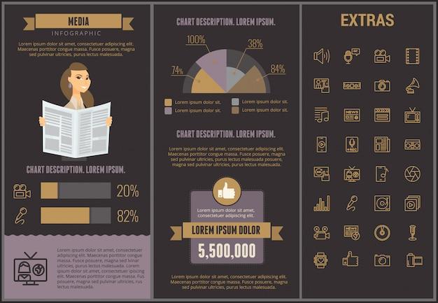 Media infographic sjabloon, elementen en pictogrammen Premium Vector
