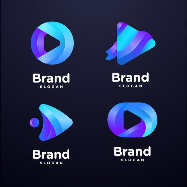 Media play logo template collection Premium Vector