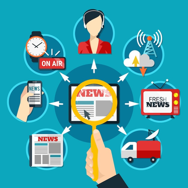 Media ronde pictogrammen ingesteld op vers nieuwsthema in papieren en elektronische formulieren plat Gratis Vector
