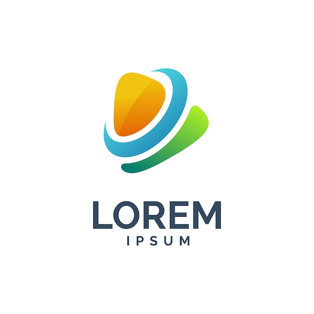 Media spelen logo Premium Vector