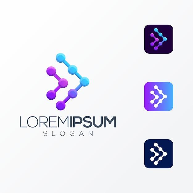 Media tech premium logo Premium Vector