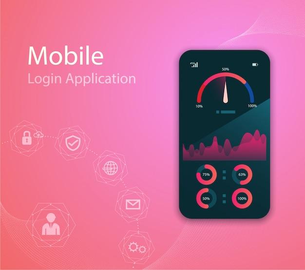 Media technologieillustratie met mobiele telefoon en pictogrammen. Premium Vector