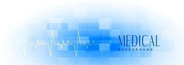 Mediale en gezondheidszorg brede blauwe banner Gratis Vector