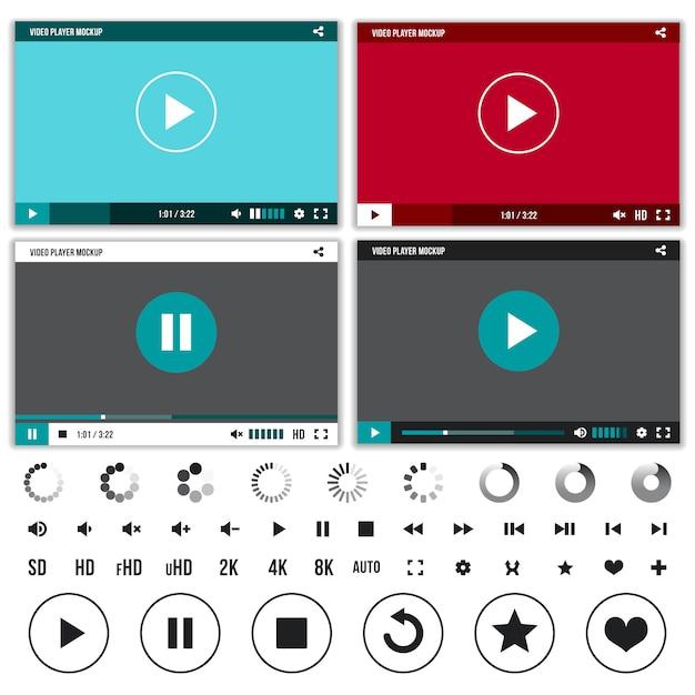 Mediaspelers met video bedieningsknoppen ingesteld Premium Vector