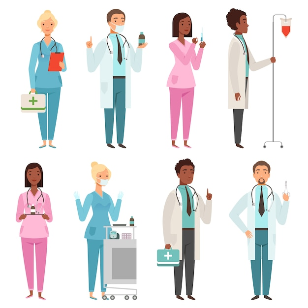 Medic tekens. ziekenhuis spullen mannelijke en vrouwelijke verpleegsters artsen hulpverleners mascottes Premium Vector