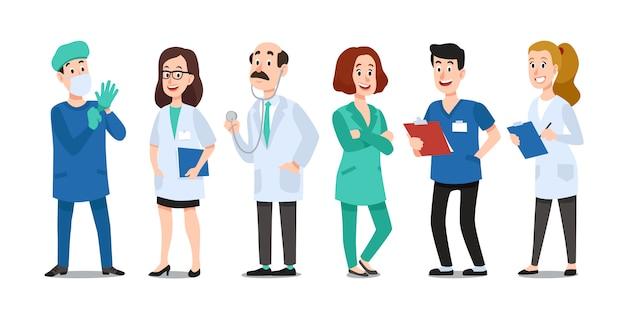 Medicijnartsen. arts, ziekenhuisverpleegster en arts met een stethoscoop. medic gezondheidswerkers cartoon tekenset Premium Vector