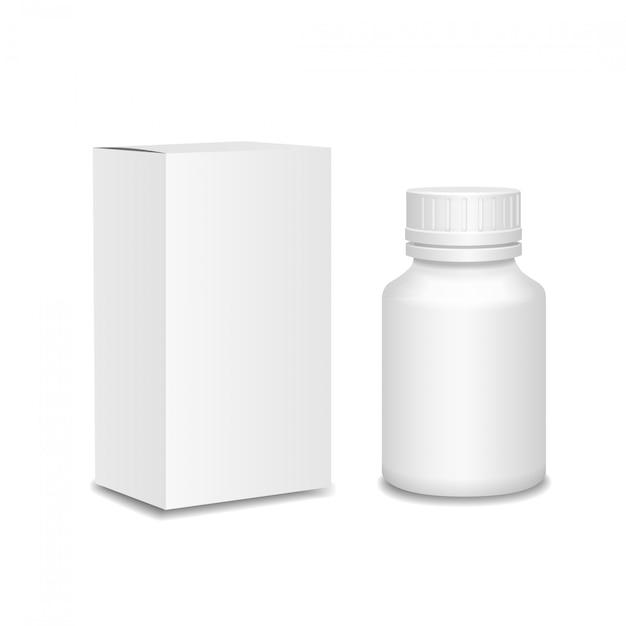 Medicijnen flesje. witte plastic fles, kartonnen verpakking Premium Vector