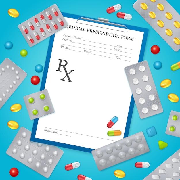 Medicijnen recept medische achtergrond poster Gratis Vector
