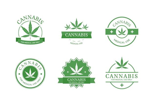 Medicinale cannabis badges-collectie Gratis Vector