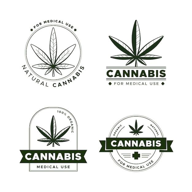 Medicinale cannabis badges ingesteld Premium Vector