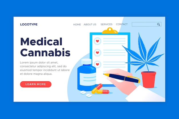 Medicinale cannabis websjabloon geïllustreerd Gratis Vector