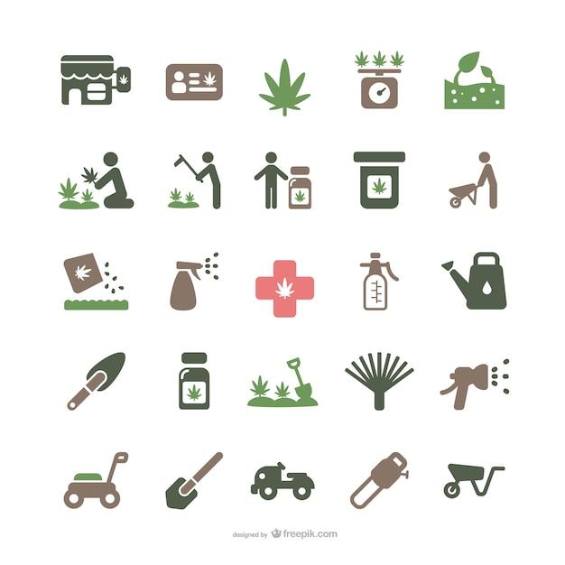 Medicinale marihuana en tuinieren iconen Gratis Vector