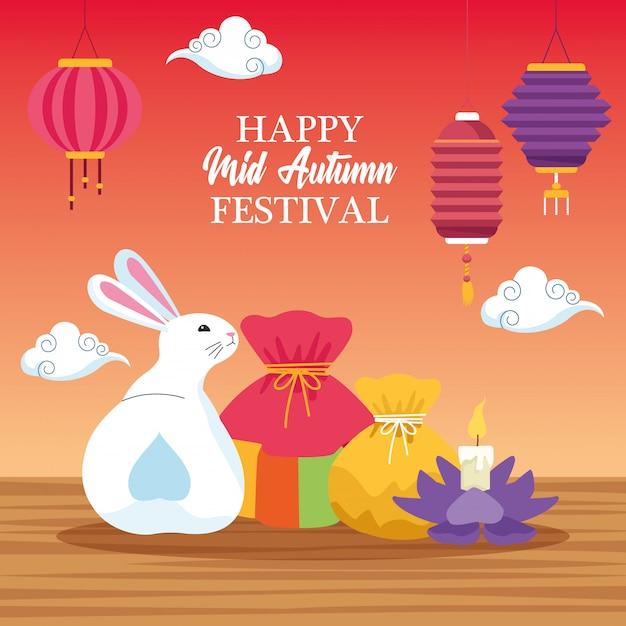 Medio herfst chinees festivalbeeldverhaal Premium Vector