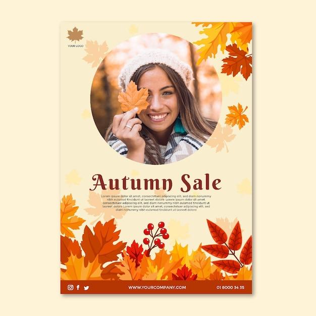 Medio herfst poster sjabloon Gratis Vector