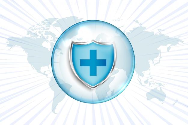 Medisch beschermingsschild met dwarsteken en wereldkaart Gratis Vector