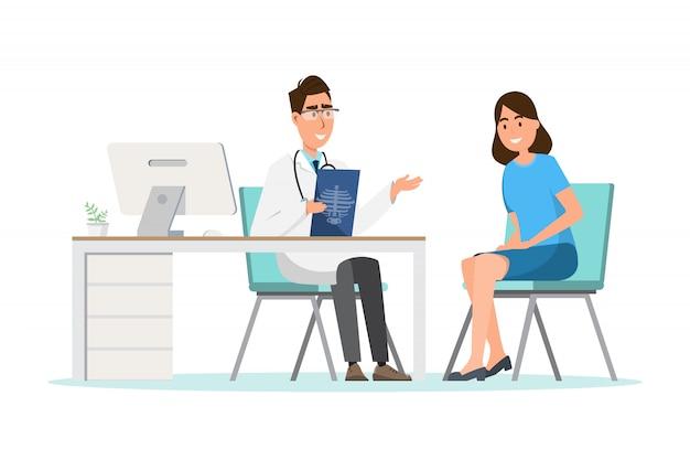 Medisch concept. arts met vrouw patiënt in flat cartoon op ziekenhuis hal Premium Vector