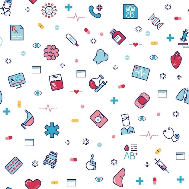 Medisch gezondheidszorg naadloos patroon met de pictogrammen van de lijngeneeskunde Premium Vector