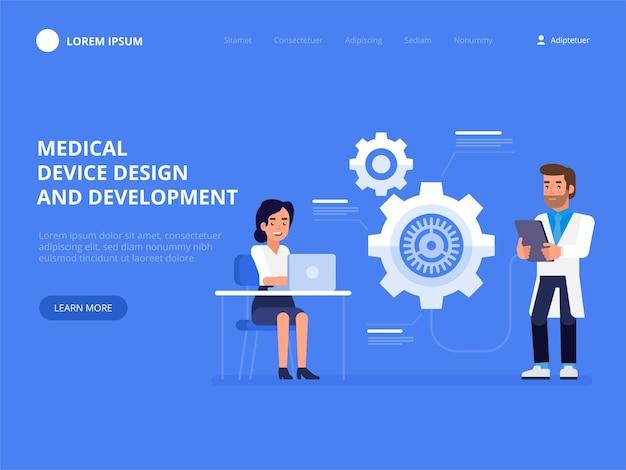 Medisch hulpmiddel ontwerp en ontwikkeling science concept idee van onderwijs en innovatie platte vectorillustratie Premium Vector