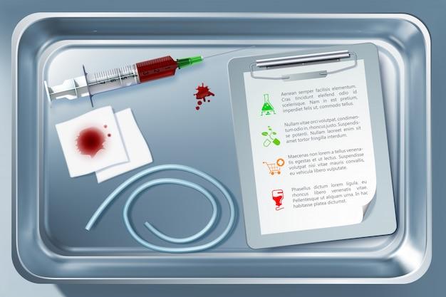 Medisch hulpmiddelconcept met suringe verband notepad tourniquet in sterilisator na het nemen van bloedprocedure Gratis Vector