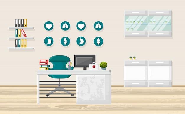 Medisch kantoor en gezondheidszorgconcept Premium Vector