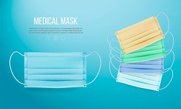 Medisch masker op blauwe achtergrond Premium Vector