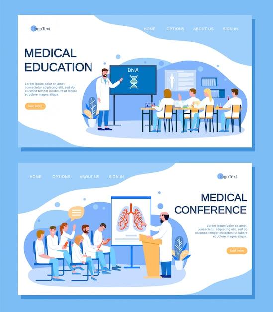 Medisch onderwijs, conferentie met artsen mensen landing paginaset Premium Vector