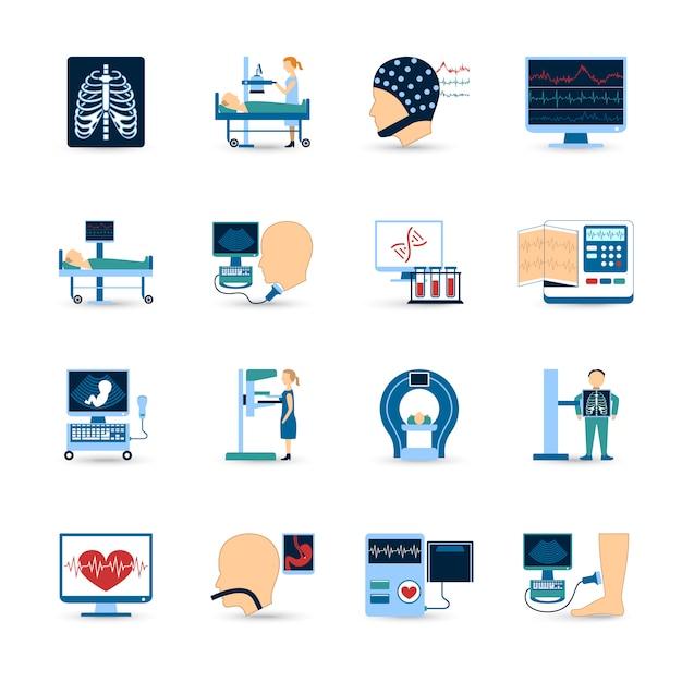 Medisch onderzoek icons set Gratis Vector