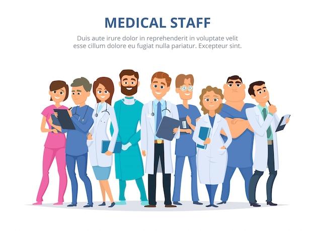 Medisch personeel, groep mannelijke en vrouwelijke artsen Premium Vector
