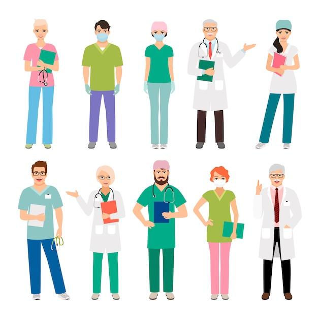 Medisch personeel staande mensen geïsoleerd. gezondheid beoefenaar arts en gezondheidszorg verpleegster vectorillustratie Premium Vector