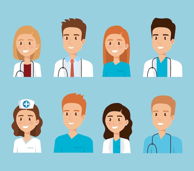 Medisch personeel van de gezondheidszorg Premium Vector