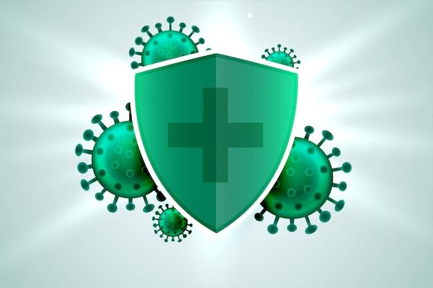 Medisch schild dat beschermt tegen corona-virusinfectie Gratis Vector
