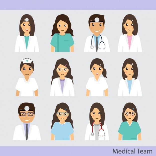 Medisch team iconen collectie Gratis Vector