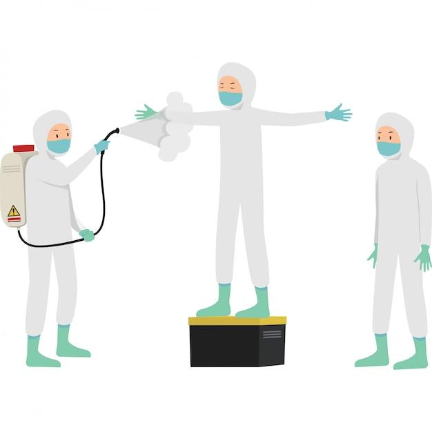 Medisch werker spuit desinfectiemiddel naar zijn partner om covid te voorkomen 19 Premium Vector