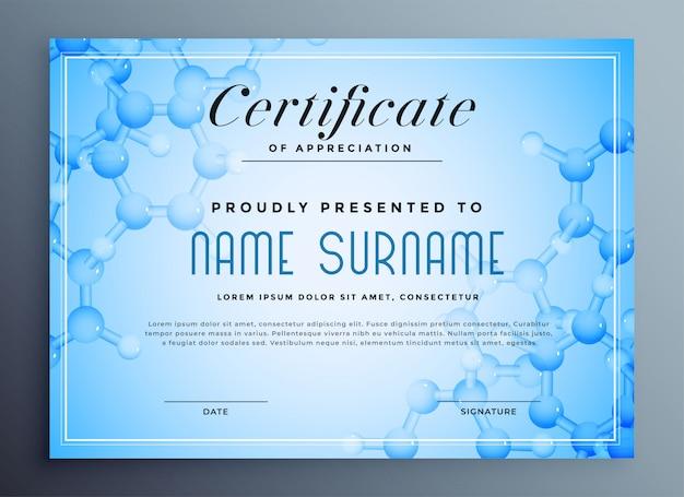 Medisch wetenschapscertificaat met moleculaire structuur Gratis Vector