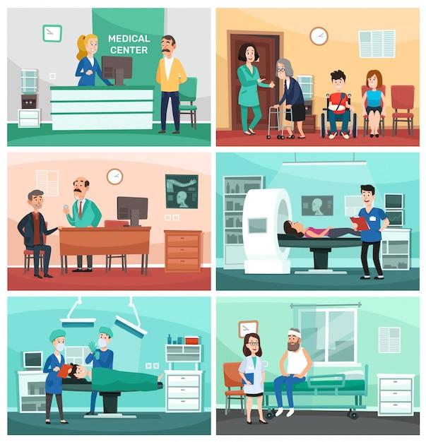 Medisch ziekenhuis. klinische zorg, noodverpleegkundige met patiënt en ziekenhuizen arts cartoon afbeelding Premium Vector