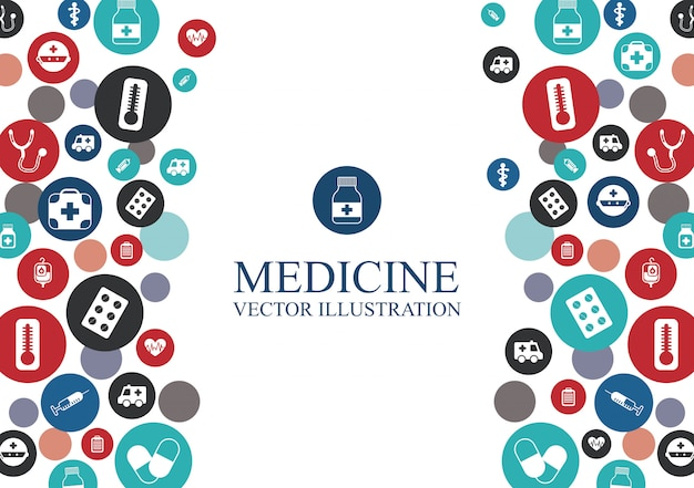 Medische achtergrond met elementen grafisch ontwerp Gratis Vector