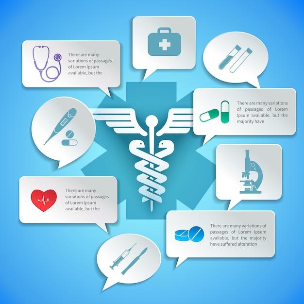 Medische apotheek ambulance papier infographic en toespraak bubbels vector illustratie. Gratis Vector
