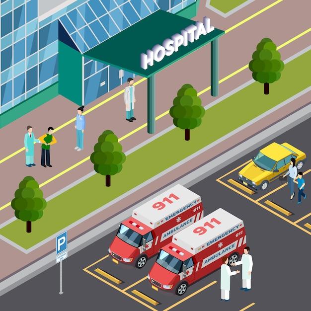 Medische apparatuur isometrische samenstelling met openluchtmening van het ziekenhuisingang en parkeerterrein met de vectorillustratie van ziekenwagenauto's Gratis Vector