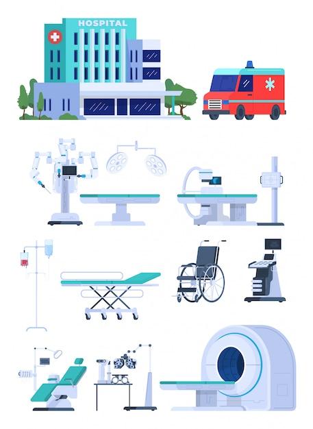 Medische apparatuur voor het ziekenhuis, dat op witte moderne pictogrammenillustratie wordt geïsoleerd. gezondheidszorgtechnologie voor medisch centrum, apparatuur voor tomografie en echografie Premium Vector