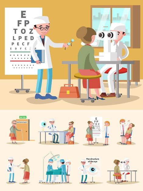 Medische behandeling oftalmologische samenstelling Gratis Vector