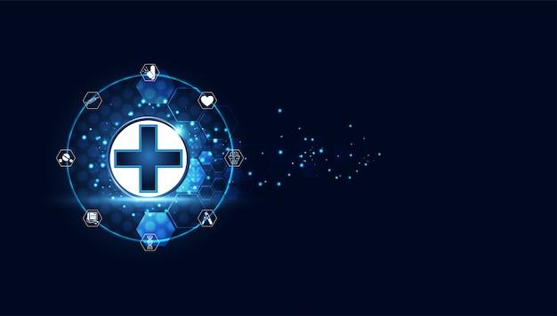 Medische behandeling van blauwe digitale gezondheid plus Premium Vector
