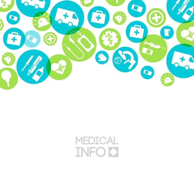 Medische behandelingslamp met eenvoudige pictogrammen en elementen in kleurrijke cirkels Gratis Vector