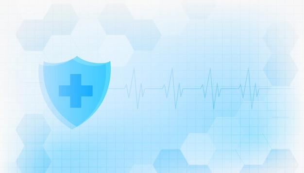 Medische bescherming immuniteit schild gezondheidszorg achtergrondontwerp Gratis Vector