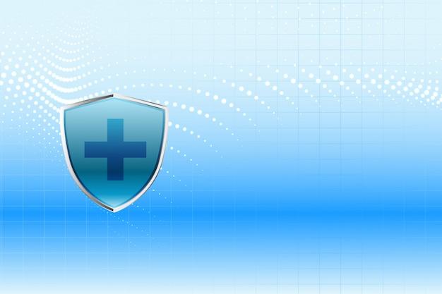 Medische bescherming schild gezondheidszorg achtergrond ontwerp Gratis Vector