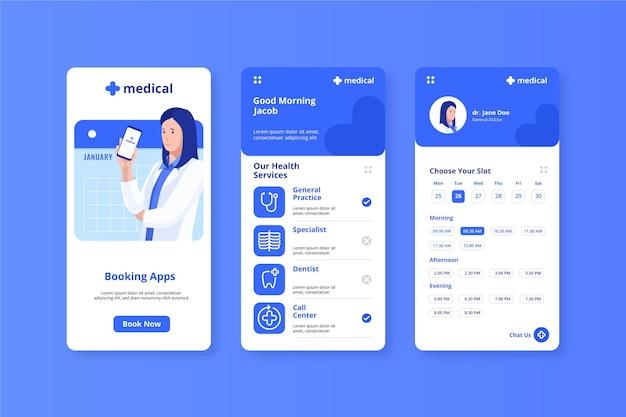Medische boekende app arts die mobiele telefoon houdt Gratis Vector