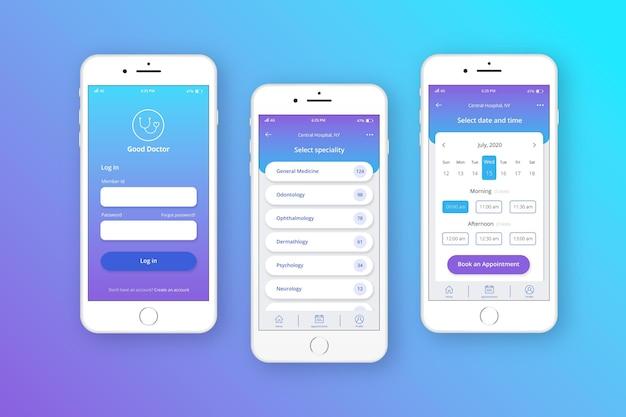 Medische boeking app concept Gratis Vector