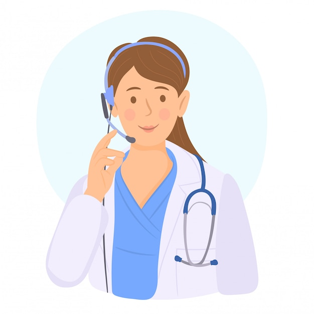 Medische call centreexploitant op het werk Premium Vector