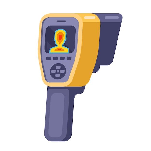 Medische camera voor de detectie van patiënten met coronavirus. illustratie. Premium Vector