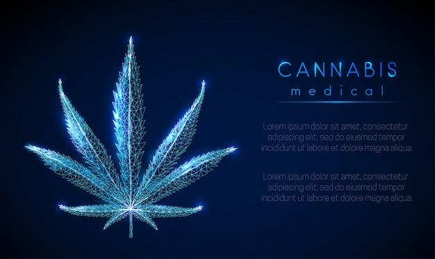 Medische cannabis. marihuana-blad. Premium Vector